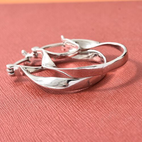 Thai Collection - Platinum Overlay Sterling Silver Oval Hoop Earrings (with Clasp), Silver wt 4.46 Gms.