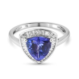 9K White Gold  Tanzanite, White Diamond Ring in Rhodium Overlay 2.15 ct,  Gold Wt. 1.8 Gms  2.150  C