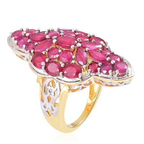 African Ruby (Ovl) Ring in Yellow Gold Overlay Sterling Silver 9.500 Ct. Silver wt 9.38 Gms.