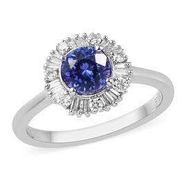 RHAPSODY 950 Platinum AAAA Tanzanite and Diamond Halo Ring 1.15 Ct.