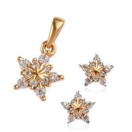 2 Piece Set Natural Cambodian Zircon Snowflake Pendant and Earrings in Gold Plated Silver