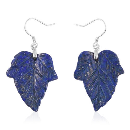 Carved Lapis Lazuli Hook Earrings in Rhodium Plated Sterling Silver 38.500 Ct.