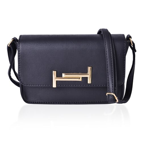 Designer Inspired-Black Colour Crossbody Bag with Adjustable Shoulder Strap (Size 20x14x6 Cm)