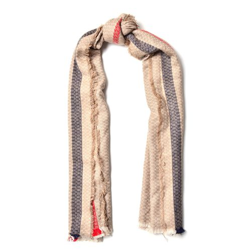 Khaki, Navy and Red Colour Small Circle Pattern Scarf with Short Tassels (Size 180x80 Cm)