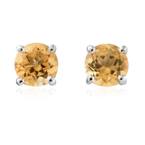 Brazilian Citrine (Rnd) Stud Earrings (With Push Back) and Pendant Set in Platinum Overlay Sterling Silver 1.750 Ct.