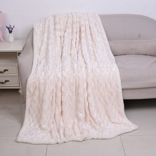 Embossed Checker Pattern Faux Fur Sherpa Blanket (150x200cm) - Off-White Colour