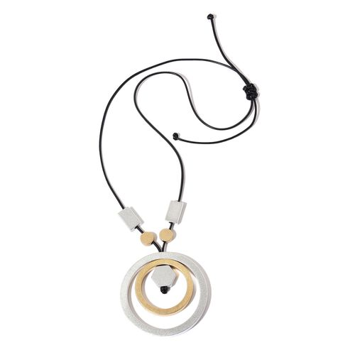 Handcrafted Concentric Circle Adjustable Necklace (Size 32) in Dual Tone