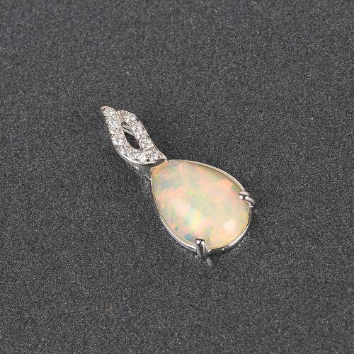 WEBEX RHAPSODY 950 Platinum AA Ethiopian Welo Opal and White Diamond Pendant 1.75 Ct.