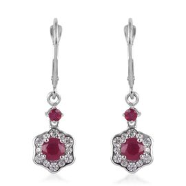 9K White Gold AAA African Ruby and Natural Cambodian Zircon Floral Lever Back Earrings 1.85 Ct.