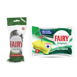 Fairy Hygienic Scourer Delicate - 2 Pack, Fairy Inox Scourer Ball - 3 Pack ( Set of 2)