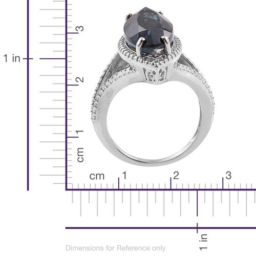 Indicolite Quartz (Mrq) Solitaire Ring in Platinum Overlay Sterling Silver 7.750 Ct.