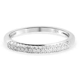 9K White Gold SGL Certified Diamond (I1-I2/G-H) Ring  0.23 Ct.