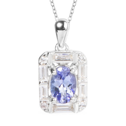 1.41 Ct Tanzanite and White Topaz Halo Pendant With Chain in Rhodium Plated Silver 18 Inch