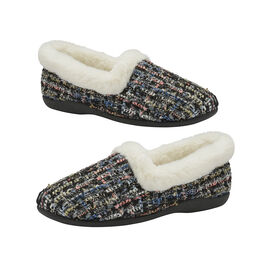Dunlop Sandie Ladies Fleece Lined Collared Full Slippers in Black Fleck