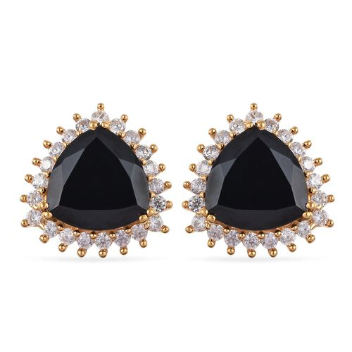 15.25 Ct Boi Ploi Black Spinel and Zircon Stud Halo Earrings in 14K Gold Plated Silver