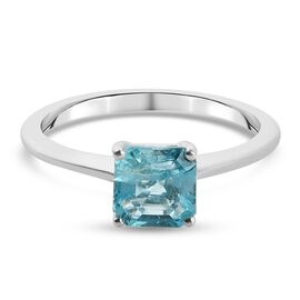 Extremely Rare Asscher Cut Paraibe Apatite Ring in Sterling Silver 1.17 Ct.
