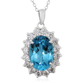 9 Ct AAA Sky Blue Topaz and Zircon Halo Pendant with Chain in Rhodium Plated Silver 18 Inch