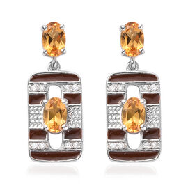 Citrine and Natural Cambodian Zircon Dangle Earrings in Platinum Overlay Sterling Silver 1.75 Ct.