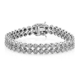 Close Out Deal- Diamond (I1/I2) (Rnd) Bracelet (Size 6.5) in Rhodium Overlay Sterling Silver 0.50 Ct