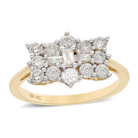 9K Yellow Gold SGL Certified Diamond (I3/G-H) Boat Ring 1.00 Ct.
