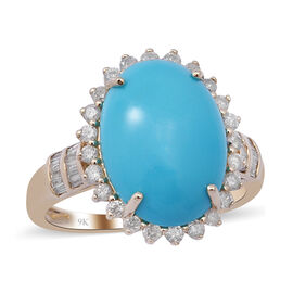Super Find- 9K Yellow Gold Arizona Sleeping Beauty Turquoise and Diamond Ring 5.63 Ct.