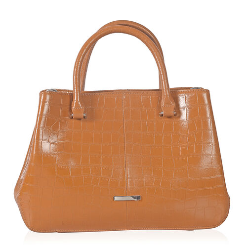 Close Out Deal Premium100% Genuine Leather  Croc Embossed Italian Tan Colour Large Tote Bag (Size 32