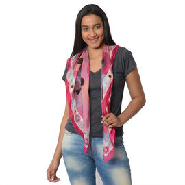 100% Mulberry Silk Scarf (Size:100X100 Cm) - Pink and Multi
