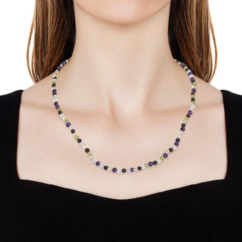 Limited Edition- Amethyst, Rhodolite Garnet, Citrine, Hebei Peridot and Multi Gemstone Necklace (Size 18) with Lobster Lock in Platinum Overlay Sterling Silver 49.600 Ct.