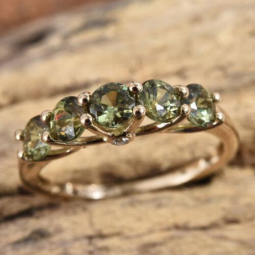 New York Close Out Deal 14K Yellow Gold AA Russian Demantoid Garnet (Rnd), Diamond Ring 1.530 Ct.