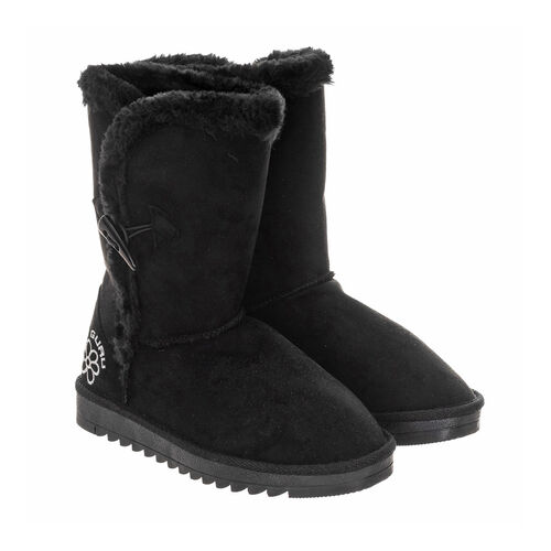 GURU Womens Winter Fluffy Ankle Boots with Button Closure (Size 3) - Black