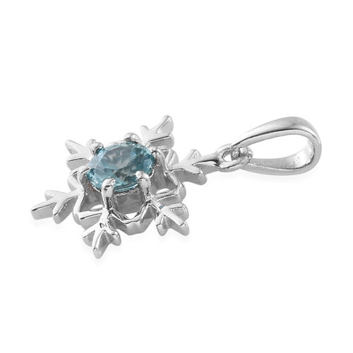 Blue Zircon (Rnd) Snowflake Pendant in Platinum Overlay Sterling Silver