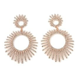 White Austrian Crystal (Rnd) Earrings in Rose Tone