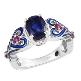 GP Masoala Sapphire (Ovl 8x6mm), Burmese Ruby and Blue Sapphire Enamelled Ring in Platinum Overlay S