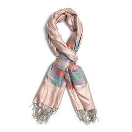 SILK MARK 100% Superfine Silk Jacquard Pattern Light Pink and Silver Colour Scarf (Size 70x180 Cm)