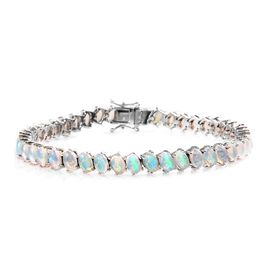 11.50 Ct Ethiopian Welo Opal Tennis Bracelet in Platinum Plated Silver 14.30 Grams 8 Inch