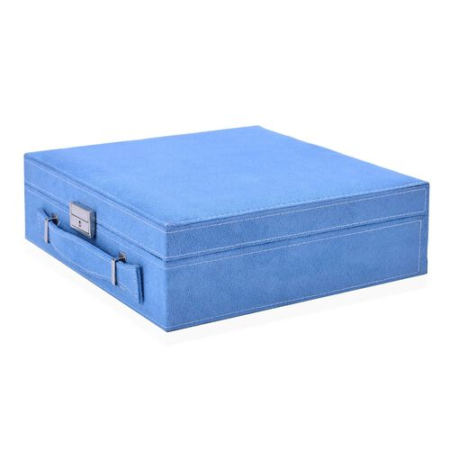 2 Tier Jewellery Box with Handle, 8 Necklace Hooks, Removable Tray, 9 Sections and Multi Storages with Lock and Key Anti Tarnish Lining (Size 26x26x9 Cm) - Turquoise Blue and Cream Colour