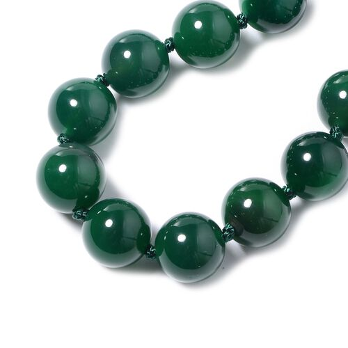 Green Agate Beaded Necklace (Size 18 with 2 inch Extender) in Stainless Steel 531.00 Ct.