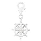 Charmes De Memoire Simulated Diamond Ship Wheel Charm in Platinum Overlay Sterling Silver