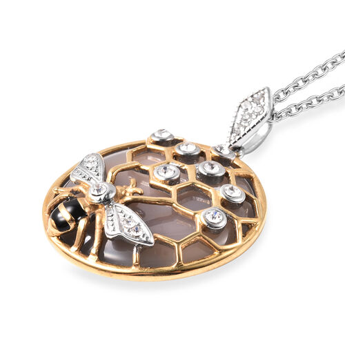 Grey Agate and White Austrian Crystal Honeybee and Honeycomb Pendant With Chain (Size 24 with 1 inch Extender) in Dual Tone Stainless Steel 35.00 Ct.