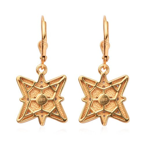 Natural Cambodian Zircon Enamelled Star Lever Back Earrings in 14K Gold Overlay Sterling Silver 1.00 Ct.