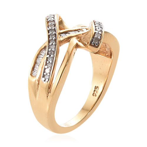 Diamond (Rnd) Crossover Ring in 14K Gold and Platinum Overlay Sterling Silver 0.250 Ct.