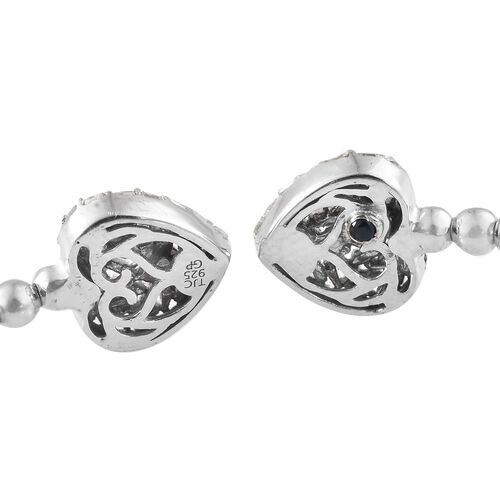 GP Diamond (Bgt), Kanchanaburi Blue Sapphire Heart Bangle (Size 7.25 Stretchable) in Platinum Overlay Sterling Silver 0.560 Ct.