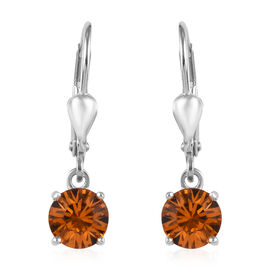J Francis - Crystal from Swarovski Topaz Crystal (Rnd) Lever Back Earrings in Platinum Overlay Sterl