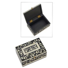 Handmade Bone Inlay Storage Box (Size 15x10x6 Cm) - Black and White