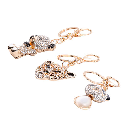 3 Piece Set - White Cats Eye, Black and White Austrian Crystal Panda, Bear and Tiger Head Enamelled Keychain in Gold Tone