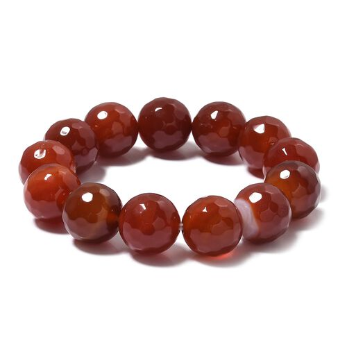 One Time Deal- Red Agate (Rnd 14-16mm) Beads Stretchable Bracelet (Size 6.5) 328.000 Ct