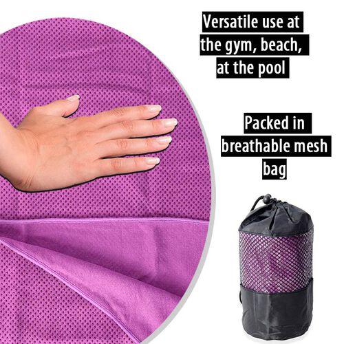 Purple Yoga mat Towel with Anti Slip Mechanism