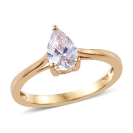 J Francis 14K Gold Overlay Sterling Silver (Pear) Solitaire Ring Made with Swarovski Zirconia