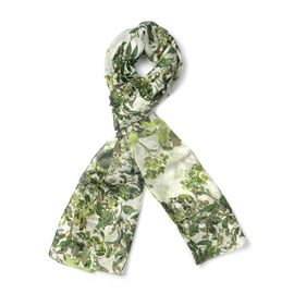 New for Season - 100% Mulberry Silk White and Green Colour Floral Pattern Scarf (Size 175x50 Cm)