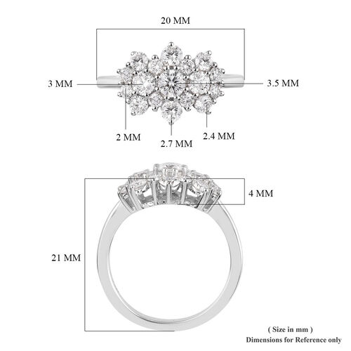 RHAPSODY 950 Platinum IGI Certified Diamond (VS/E-F) Cluster Ring 1.00 Ct, Platinum wt. 4.35 Gms